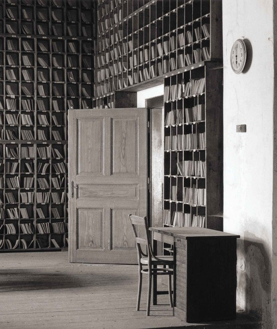 Prisoners files in small fort office, Theresienstadt. Photo, Dirk Reinartz