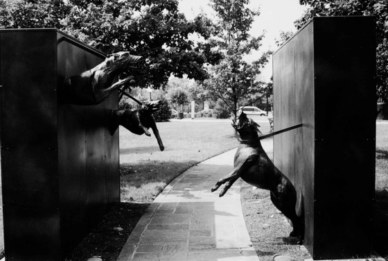 "James Drake, ""Police and Dog Attack,"" Freedom Walk, Kelly Ingram Park, Birmingham, Alabama, 1993. Photo, Eddie Williams"