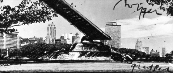 "Claes Oldenburg, ""Proposed Colossal Monument for Grant Park, Chigaco,"" Windsheild Wiper, 1967. Courtesy of Claes Oldenburg"