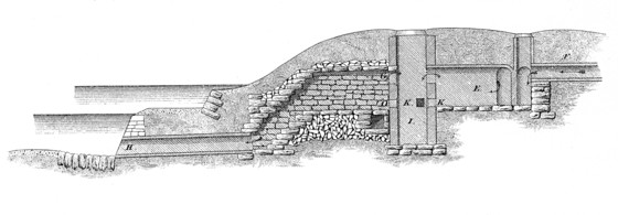 Central Park drainage section, depositing chambers and filter, west side of lake, 1861.