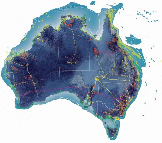Tropical Ecology as Coastal Infrastructure. Portraying the effects and opportunities of tropicalization, the above map depicts a combined projection of energy resources, climates, and infrastructures that are transforming the Australian continent. Courtesy Pierre Bellanger. Source: OPSYS, 2010
