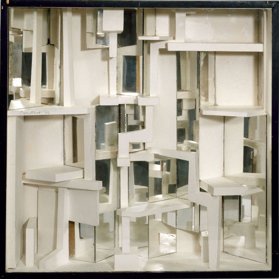 Constant, Diorama II (wood, oil, and mirrors, 63 x 63 x 18 cm), New Babylon, 1962.