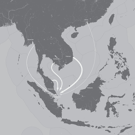 Sand in Singapore is sourced from throughout the region, despite export moratoriums. Map: OPSYS/Alexandra Gauzza.