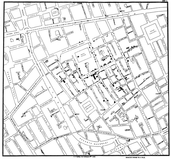 John Snow's map of the areas of London's Soho affected by cholera used to find the source of the outbreak, 1848.