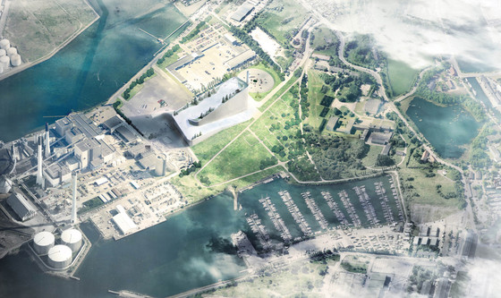 "BIG, Amager Resource Center, Copenhagen, Denmark, under construction. The facility utilizes flue gas cleaning, a highly efficient technology that removes all toxics, reduces sulfur emissions by 99.5 percent, and minimizes nitrogen oxide emissions by almost 90 percent of what the former 49-year-old plant produced. According to the project team, it would be like breathing normal air. Because of improved air quality, the slope of the facility has been deemed safe for public activities, and has been designed to accommodate snow (both natural and artificial) for skiing. ""Green walls"" and a special facade that has openings for natural light will benefit both visitors and employees. The roof will also act as a ""real mountain,"" with green areas, hiking trails, climbing walls, and a mountain bike trail. A ""viewing plateau"" and café on top of the plant will also be open to the public."