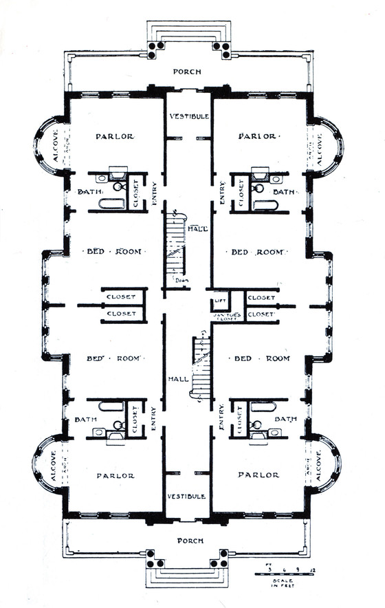 Plan of a kitchenless apartment house, from Bradford C. Peck, The World a Department Store: A Story of Life Under a Cooperative System, 1990.
