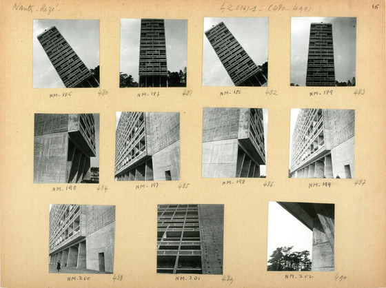 One of many contact sheets of photographs taken by Lucien Hervé of Le Corbusier's Unité d'habitation, Nantes-Rezé, France, 1950.