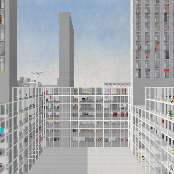 Dogma, proposal for the transformation of an office block, Brussels, Belgium, 2014.