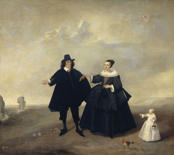 Portrait of a couple with child, members of the Beresteyn family, ca. 1655.