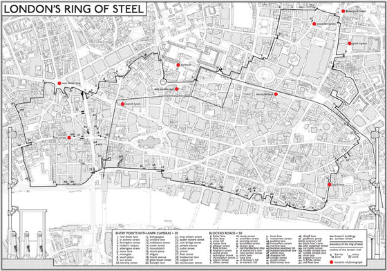 Map of the Ring of Steel, London.