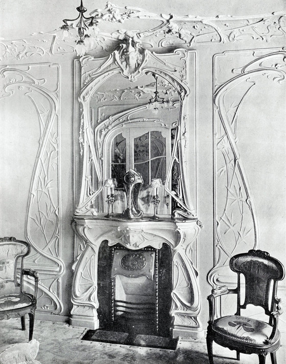 Georges Farcy, interior of the architect's house on rue Villaret-Joyeuse, Paris, 1904.