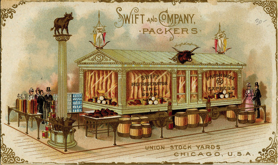 Swift and Company postcard, 1893. Swift and Company's refrigerated railroad car made it possible—and profitable—to ship dressed meat to distant markets.