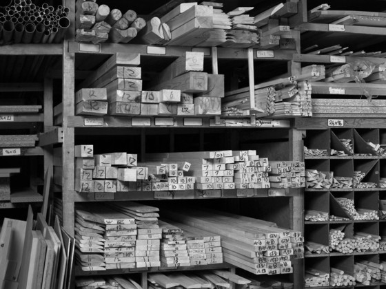 Planks of wood for sale at a home-improvement store, 2007.