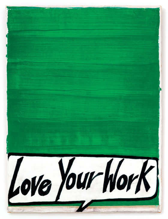 Rochelle Feinstein, Love Your Work, 1999. 28 x 18 x 1.25 inches, fresco. Private collection.