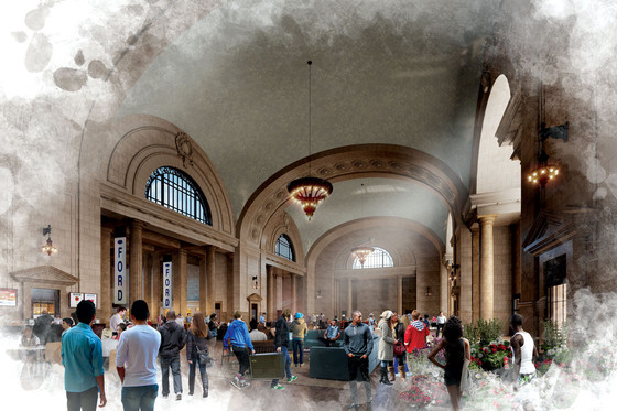 Snøhetta, rendering of the renovated Michigan Central Station, Detroit, 2018.