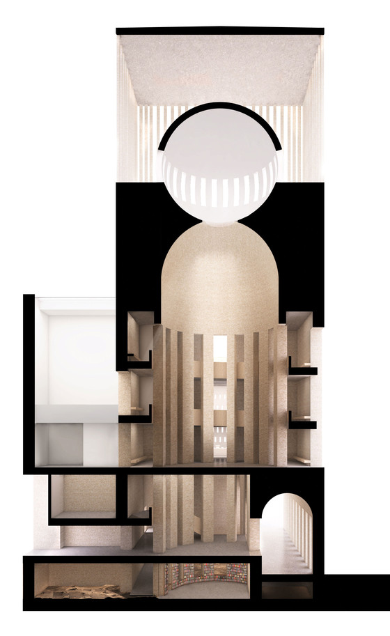 Kuehn Malvezzi, House of One, section rendering, 2016.