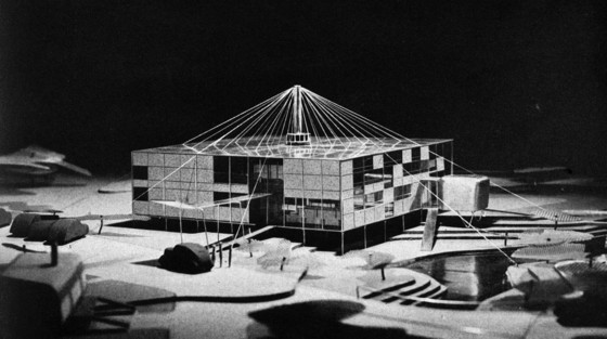 "Eero Saarinen's vision for a ""demountable space,"" model photograph from US Gypsum's advertisement that appeared in the March 1942 issue of Architectural Forum."